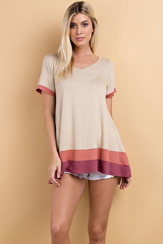 Colorful Ruffle Bottom Tee Shirt