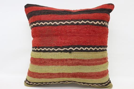 20x20 Kilim Pillow, Ottoman Pillow, Throw Pillow, Cushion Case, Home Decor Pillow, Red Pillow, Strip