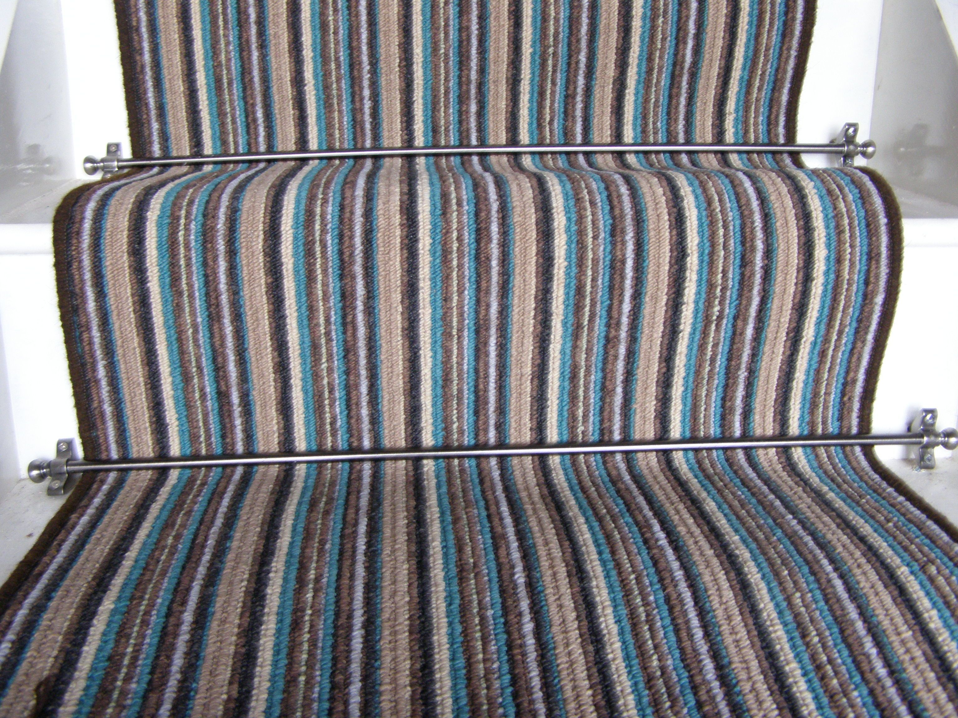 Best Phloor Teal Striped Stair Runner 6 5M X 65M Stair 400 x 300