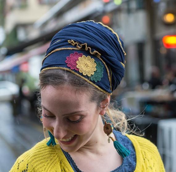 Perfect Soft Blue Tichel, Three Flowers Head Scarf, Headscarf, Hair ...