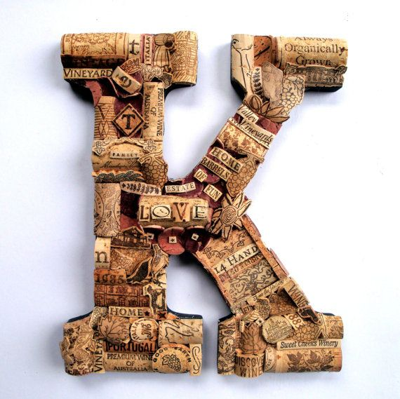 Customized Wine Cork Letter Handmade Vintage Decor  - Large Size - We Have EVERY Letter