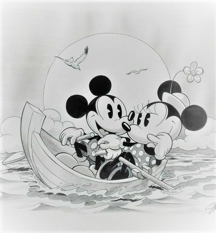 Garrido Sergio Original Drawing Mickey And Minnie Mouse Boat