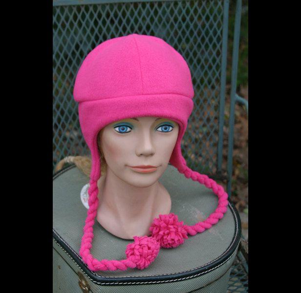 "*FH13-002 Fleece Hat, ""Missy"" - Twisted Braids with Pom Poms. $12.00, via Etsy."
