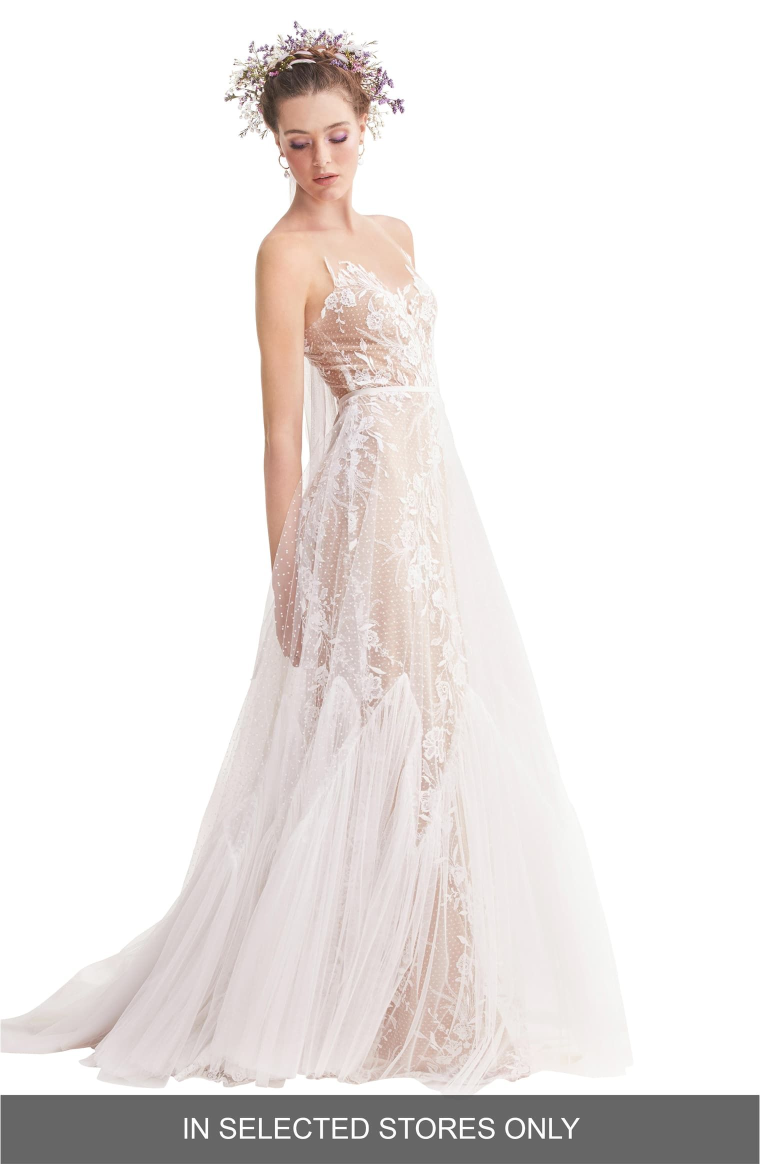 Willowby Capricorn Illusion Strapless A Line Wedding Dress Nordstrom A Line Wedding Dress Wedding Dresses For Girls Wedding Dress Long Sleeve