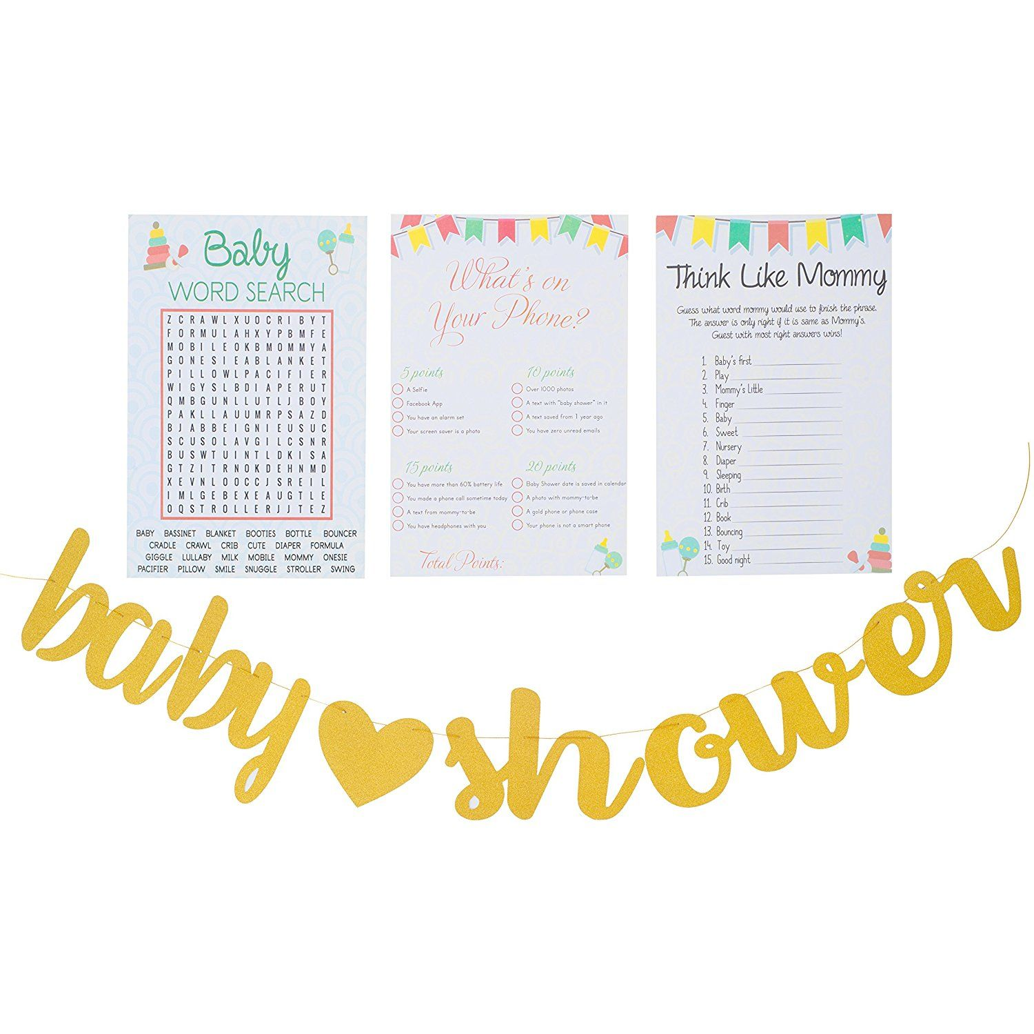 Amazon Com 3 Games Baby Shower Baby Word Search 50 Sheets