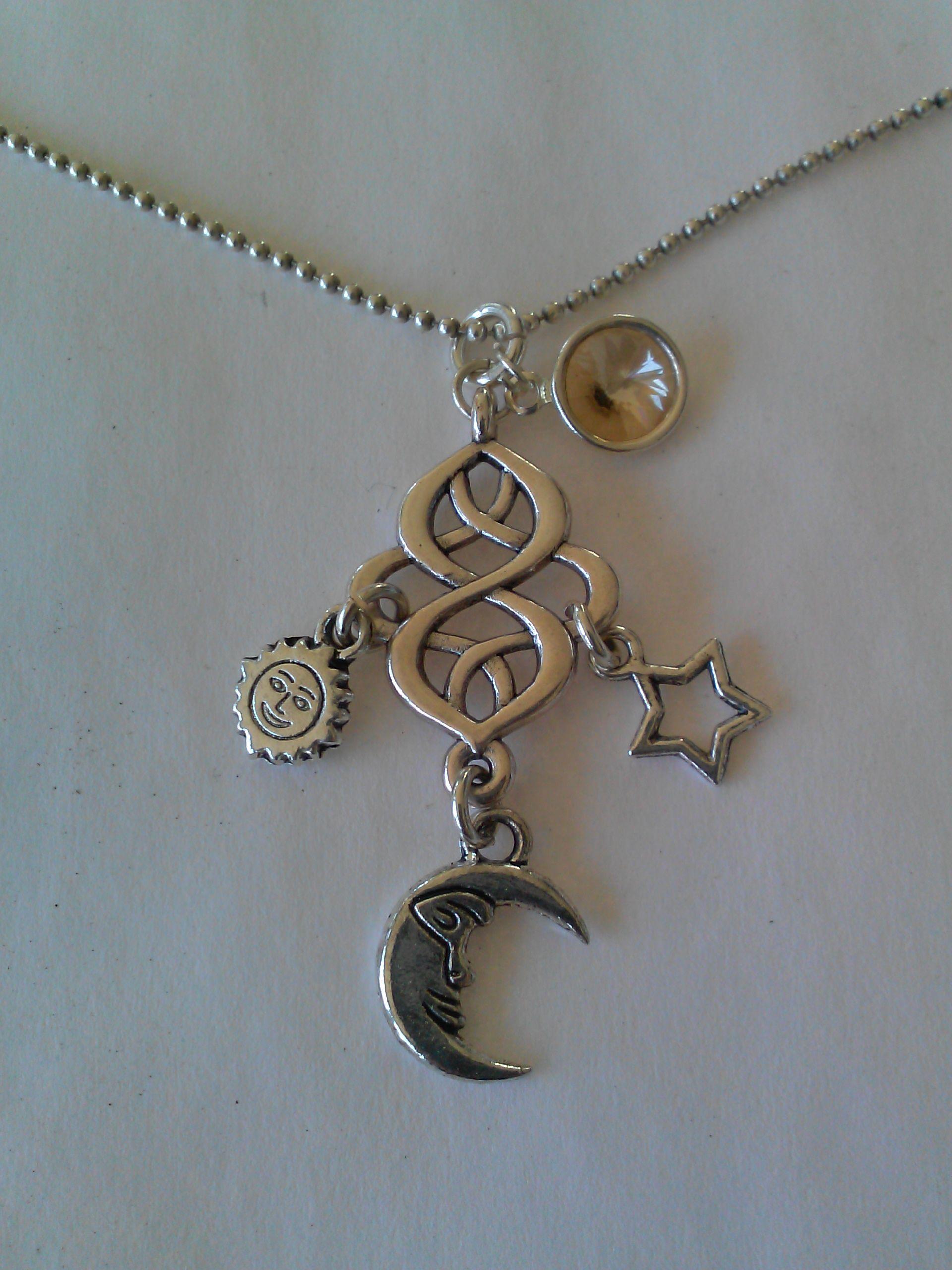 ab3ec80addd Celestial necklace, infinity connector, Swarovski crystal channel, golden  shadow, sunface charm,