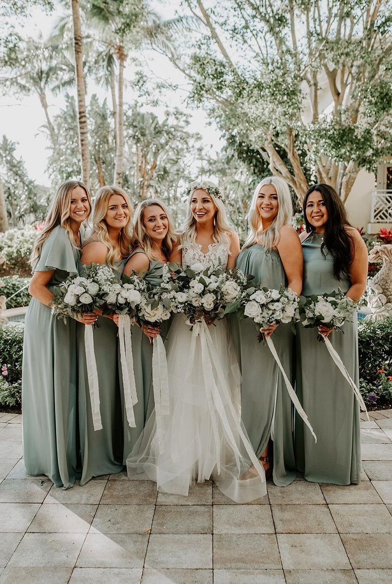 07aba205e34 44 Long Bridesmaid Dresses That You Will Absolutely Love - Bohemian Sage  Green Wedding with Pampas Grass Details  hayleypaigeweddingdresses bridesmaid  dress ...