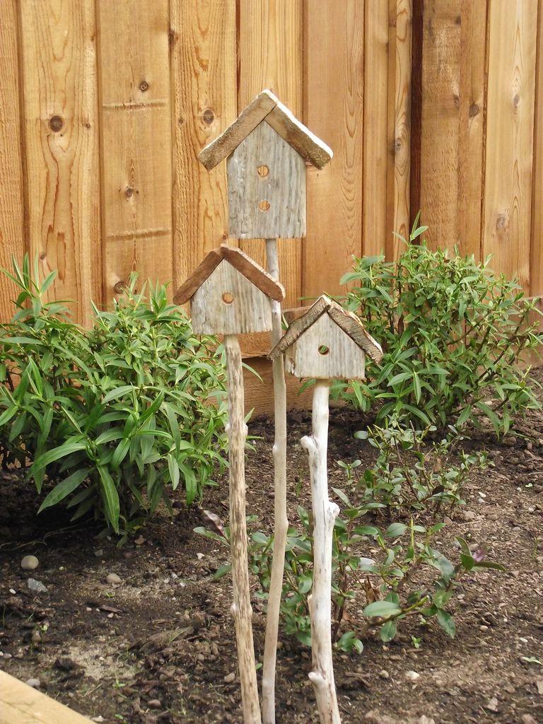 Driftwood garden stakes