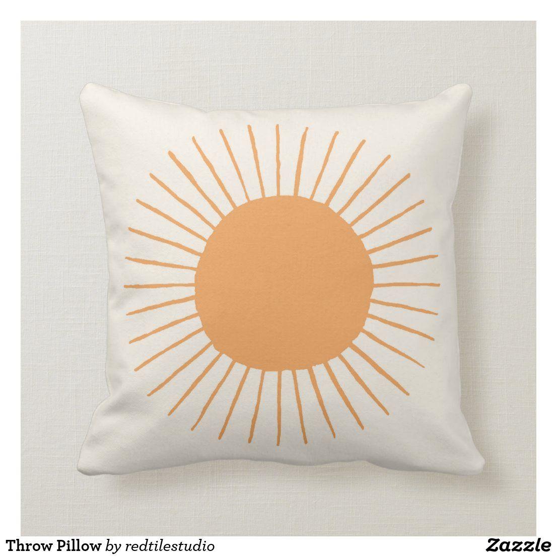 Orange boho sun dorm decor pillow