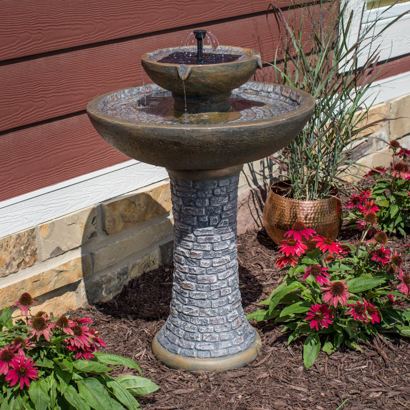 Beconning tranquility 2tier solarondemand fountain