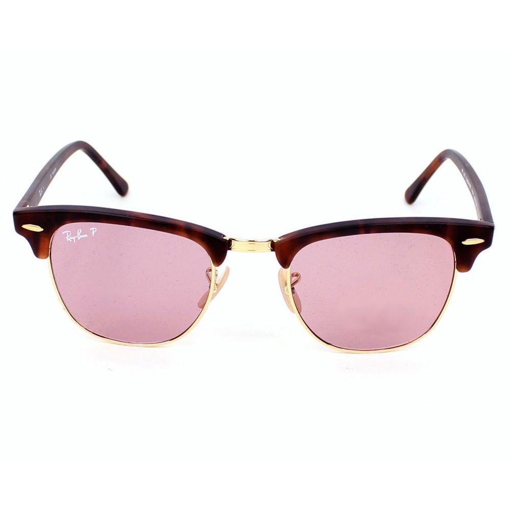 Ray-Ban RB3016 Polarized Sunglasses 51mm Matte Red Havana Frame Dark Pink  Lens