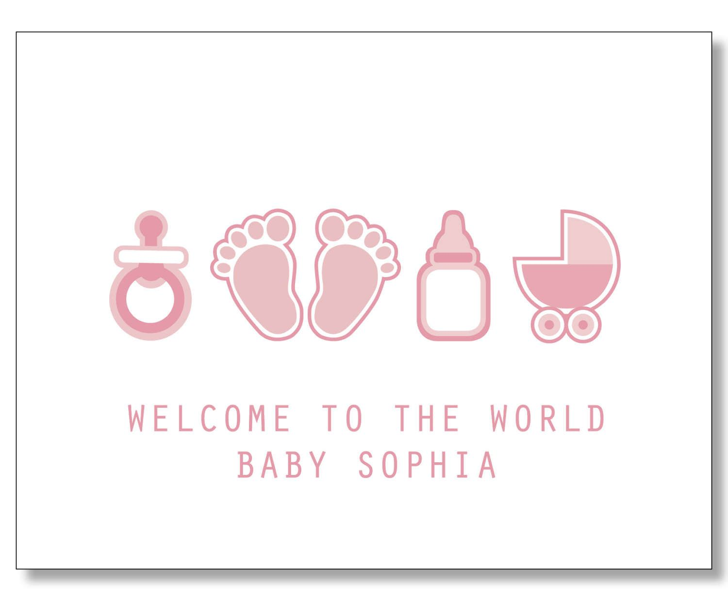 Best Custom Baby Girl Card. Custom Baby Name Card. New Mom Card  DP52