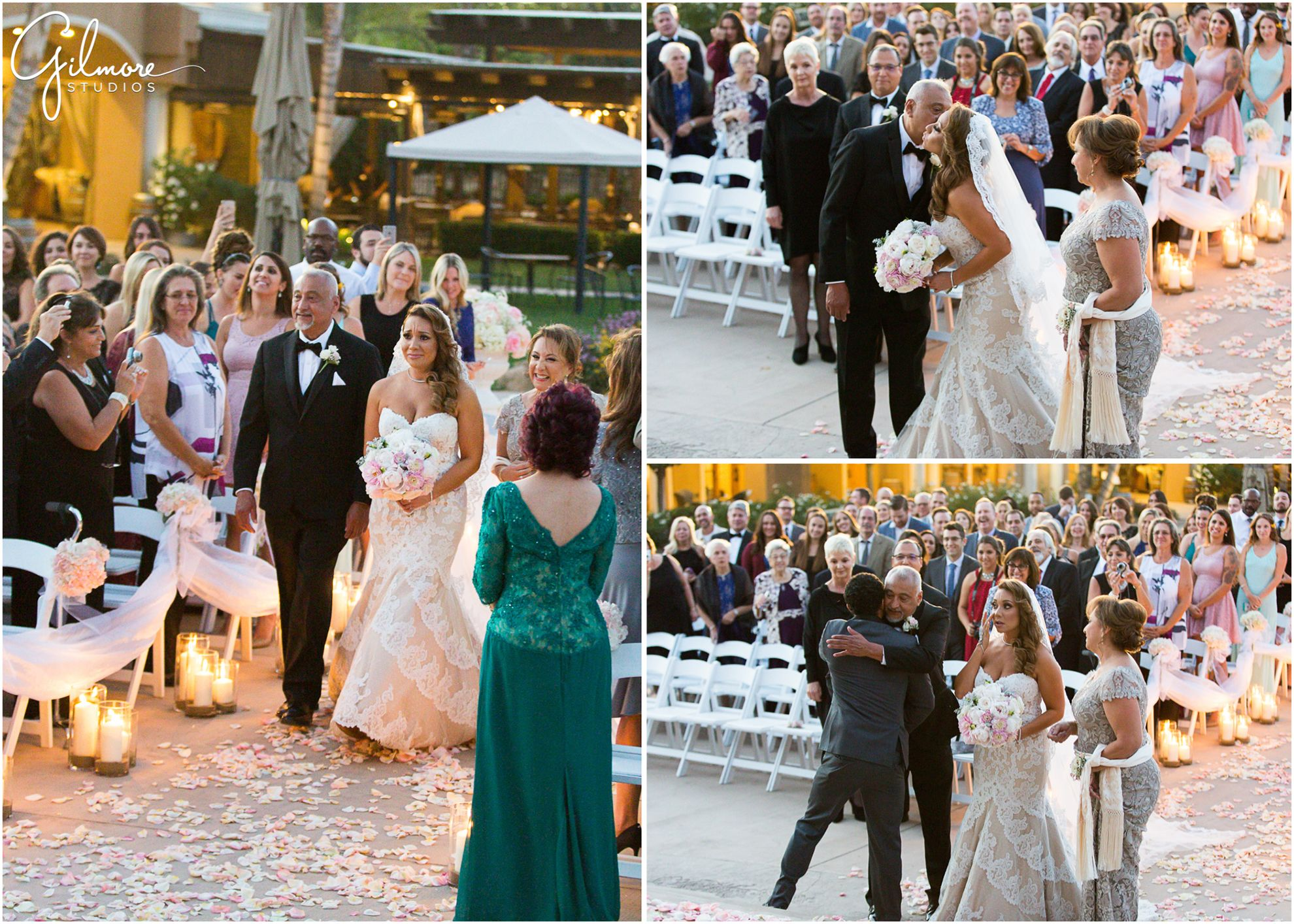 Wilson Creek Winery Wedding | Father Handing Off The Bride Wedding Ceremony Walking Down The