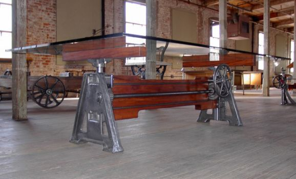 Wonderful Industrial Furniture, Adjustable Cast Iron, Wood Table Base | Tables (all)|