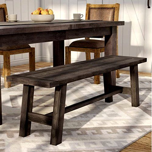 Swell Plain Wooden Bench For Dining Table And Patio Dark Brown Gmtry Best Dining Table And Chair Ideas Images Gmtryco