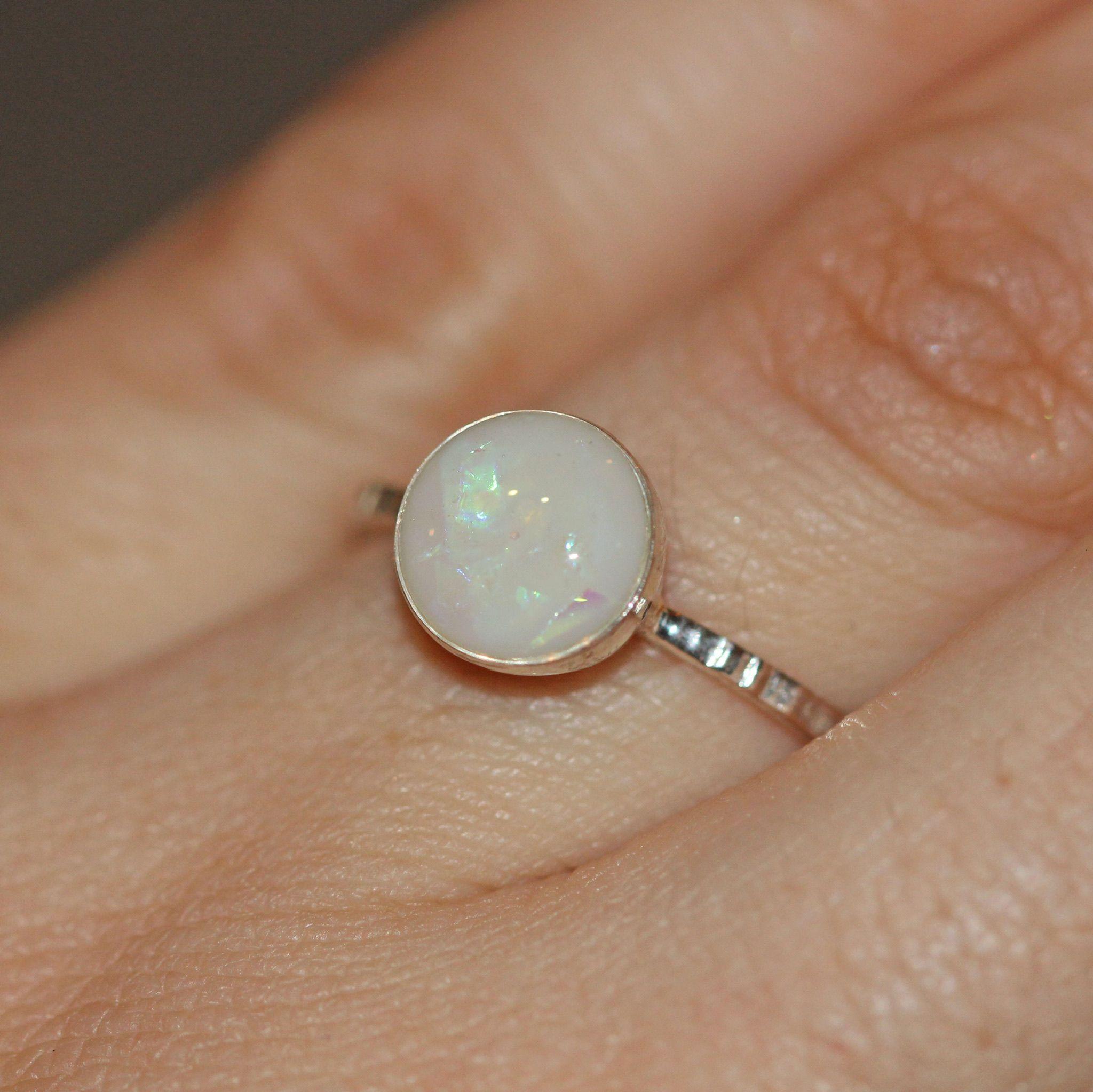 Breastmilk keepsake ring in solid sterling silver setting