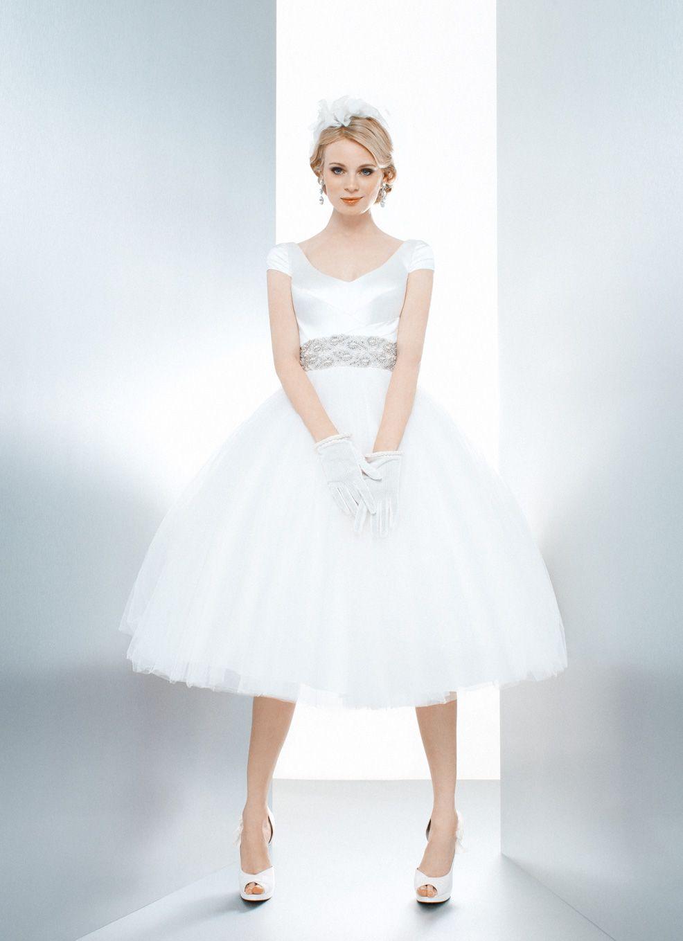 Matthew christopher tea length wedding dress wedding short