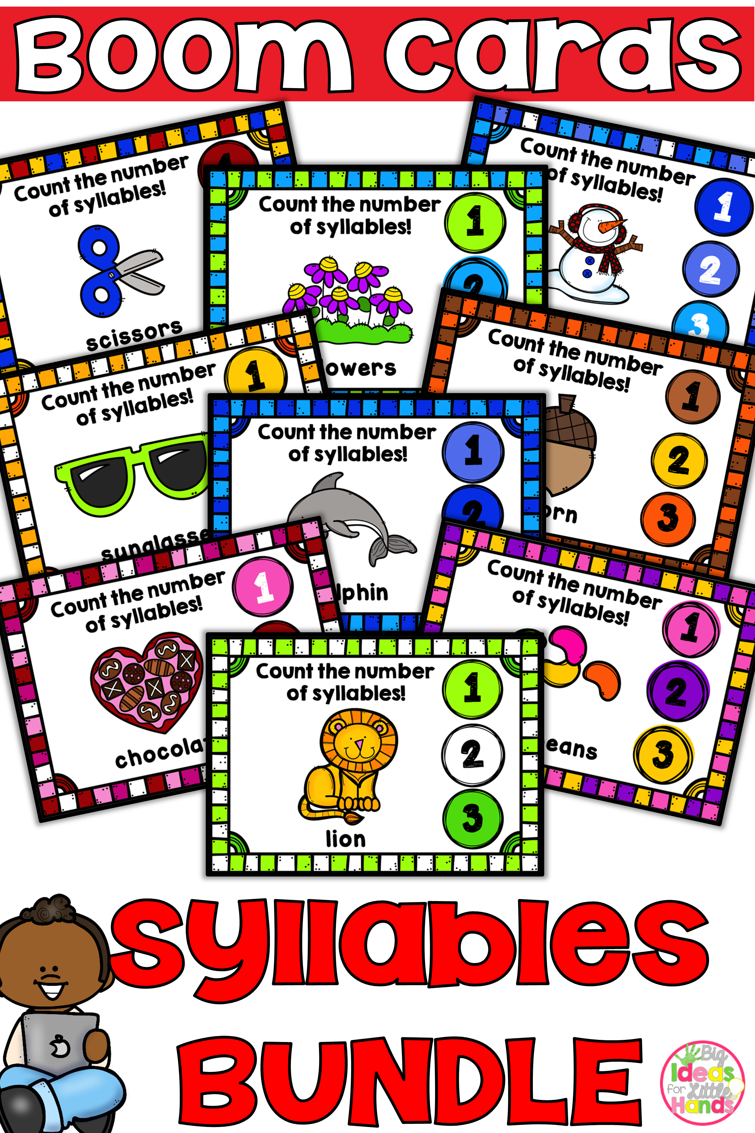 Boom Cards Syllable Counting Digital Game Bundle Distance