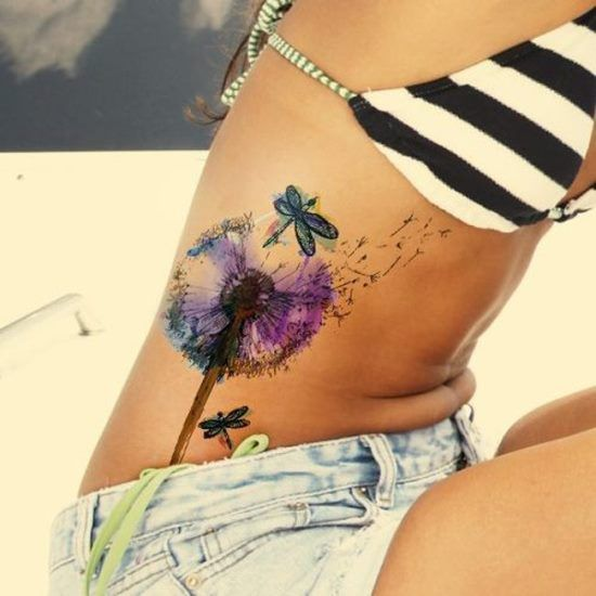 Colorful Dandelion Side Tattoo with Dragonflies