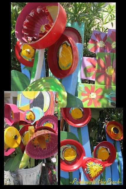 Assemblage sculpture from bundt pans other upcycled kitchen http bright flowers upcycled flower sculptures kitchen recycled pans into art rainbowswithinreach solutioingenieria Gallery