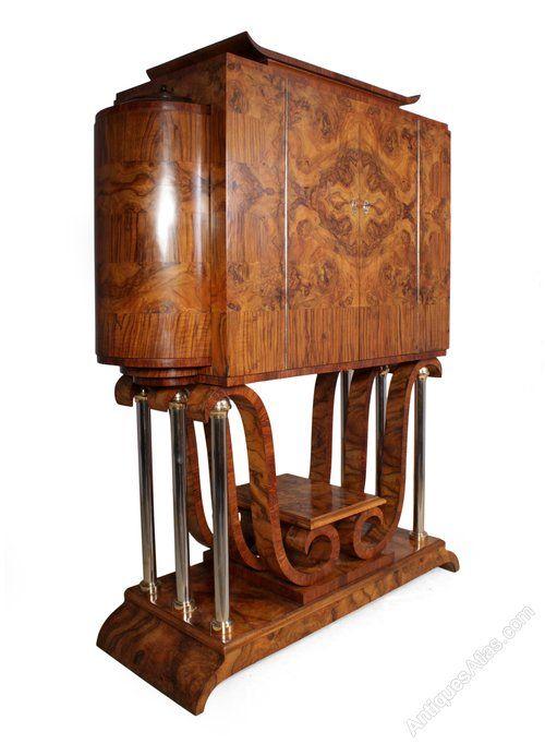 Italian Art Deco Cocktail Cabinet In Walnut In 2018 Art Deco