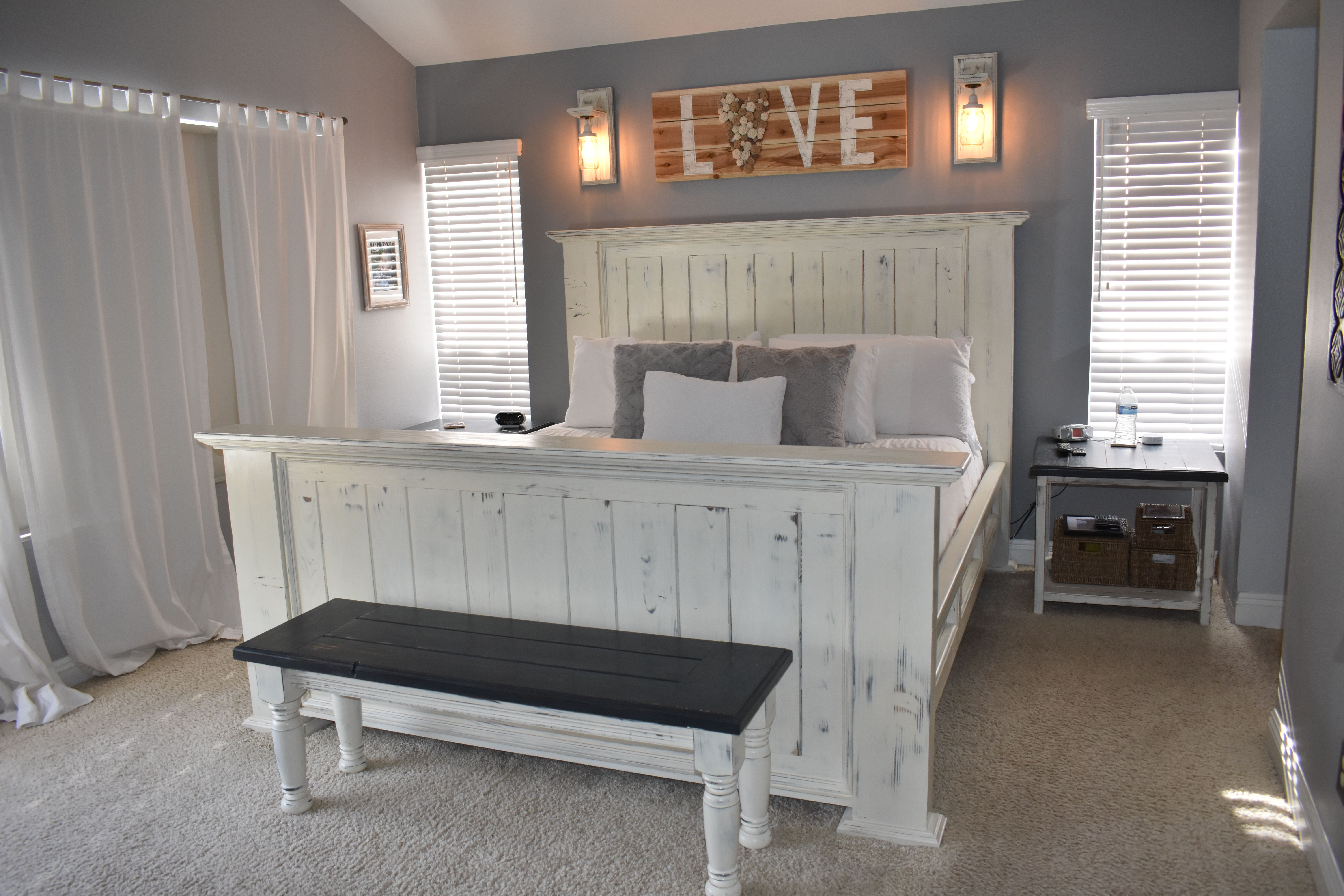 Annie Sloan Bedroom. Bed was stained with dark walnut