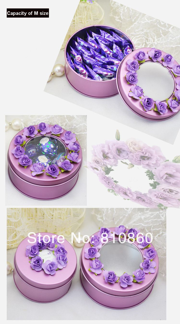 Wedding Decorations European Style Round Wedding Favor Tin Box ...