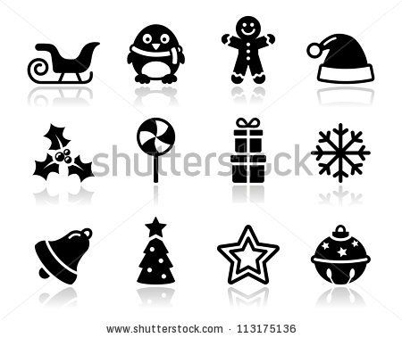Xmas Vector Clean Black Icons Set FEATURES Shapes All Groups Have Names Elements Are Easy To Modify
