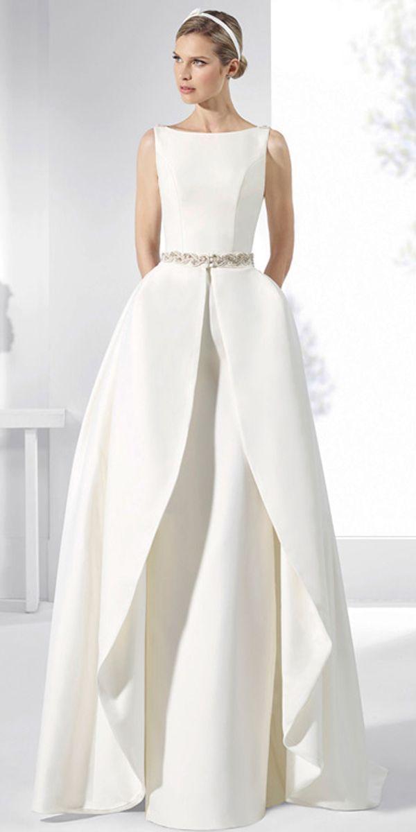 Fascinating Satin Bateau Neckline 2 In 1 Wedding Dress With Beadings & Detachable Skirt & Pockets