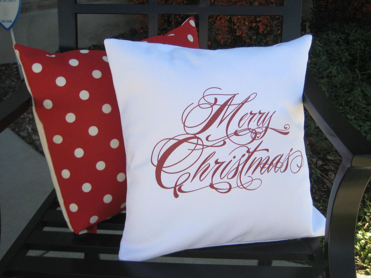 Merry Christmas Pillow Cover/ Script Font/ Red and White/ Holiday ...