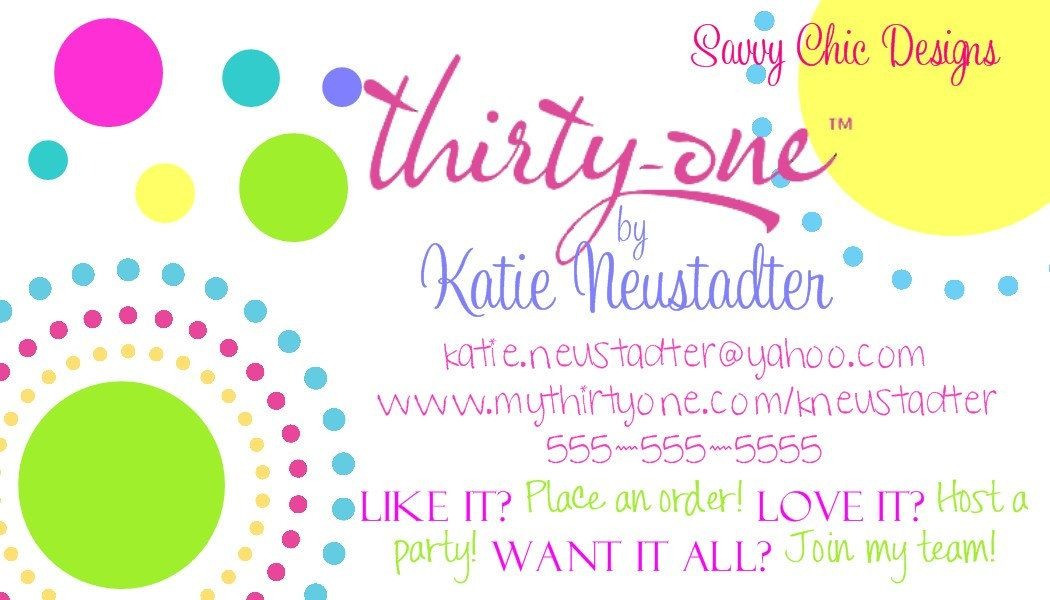 Thirty-One Business Card- DIY Printable | Thirty-one Party ideas ...