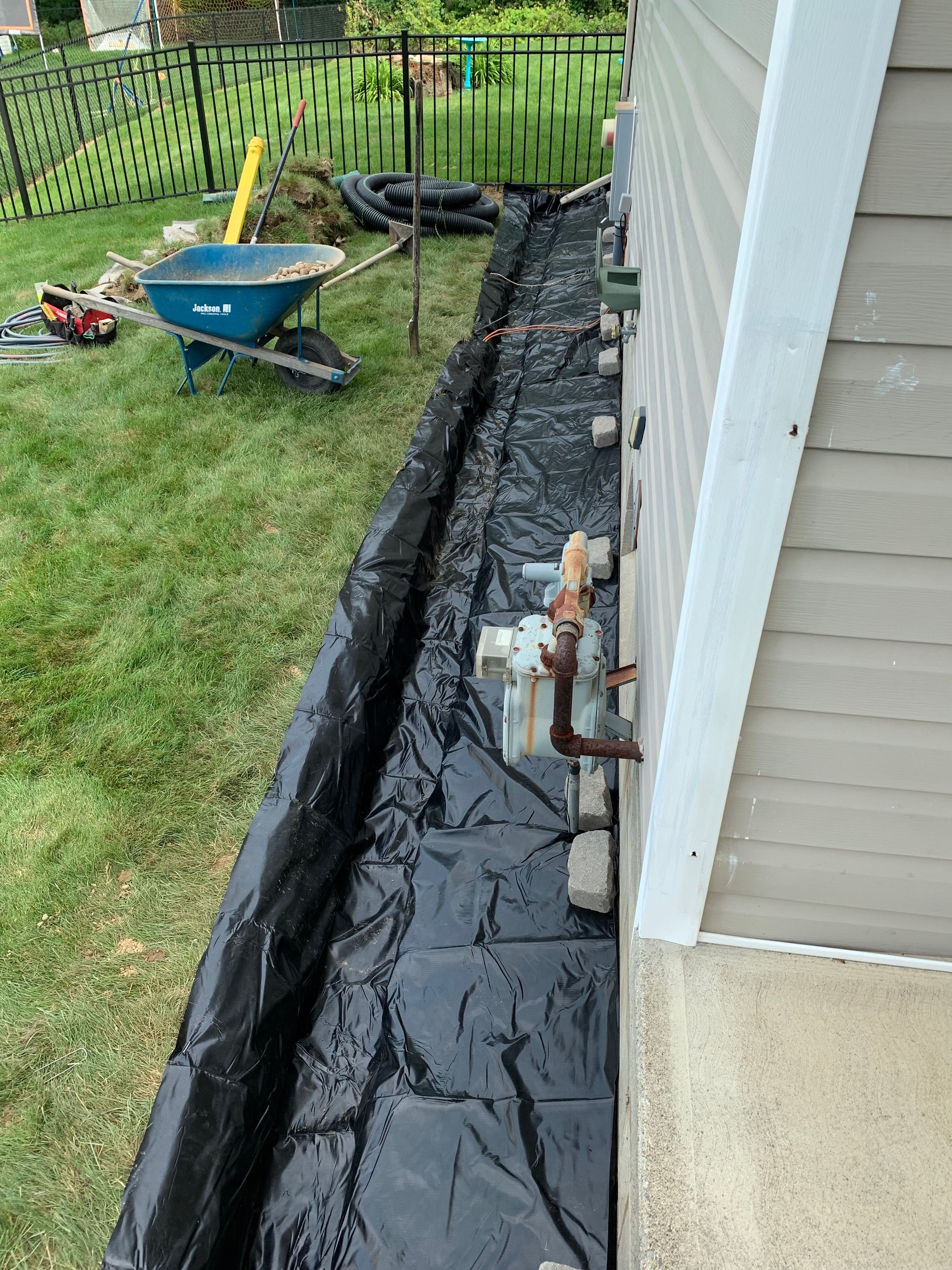 Water Collection French Drain System Along Foundation Wall For Fixing Wet Leaking Basement Walls French Drain Yard Drainage Landscape Drainage