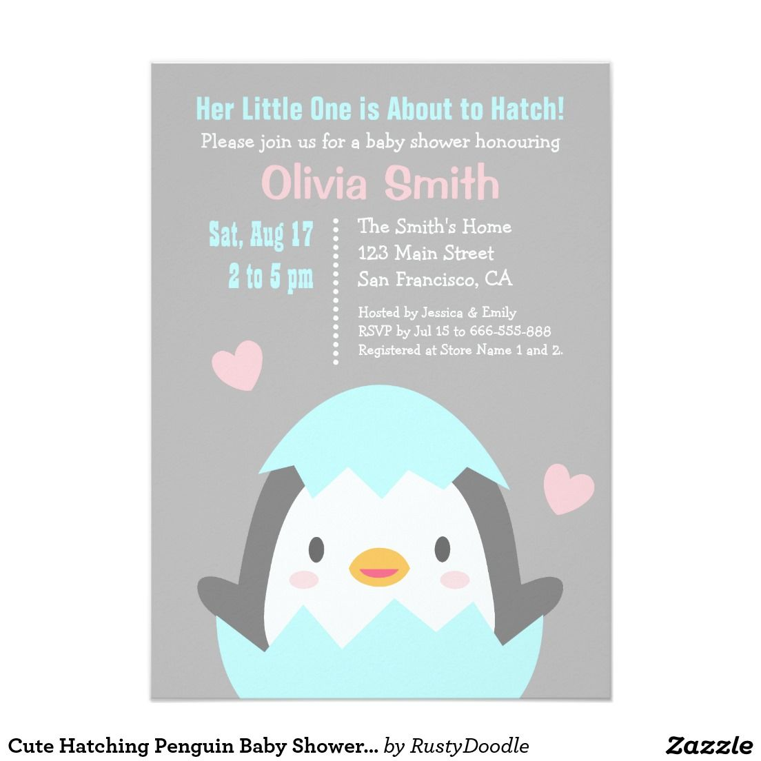 Cute Hatching Penguin Baby Shower Invitations | Baby Shower ...
