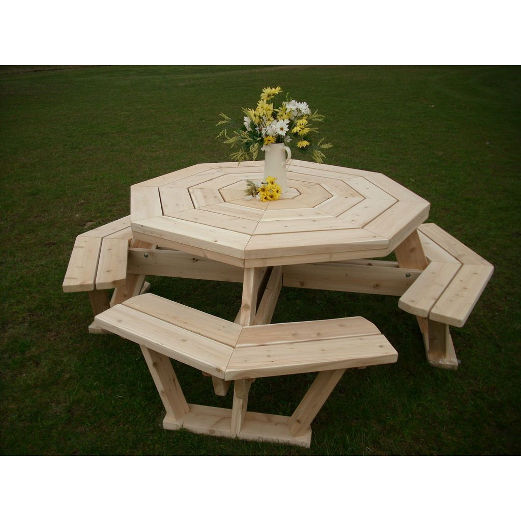 White Cedar Octagon Walk In Picnic Table Unfinished Patio - Unfinished wood picnic table