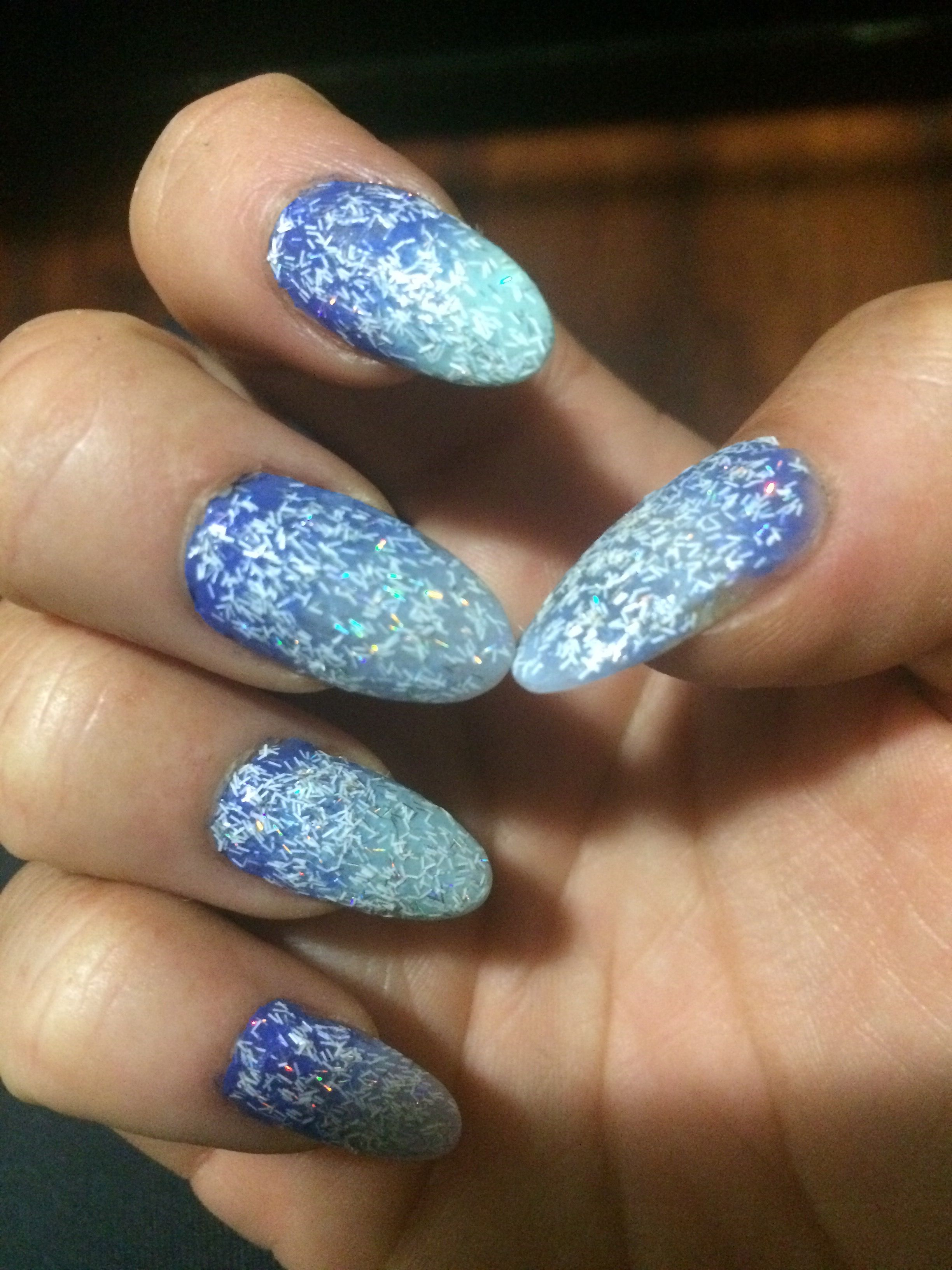 Faded dark blue into light blue then topped w/ white sparkles ...