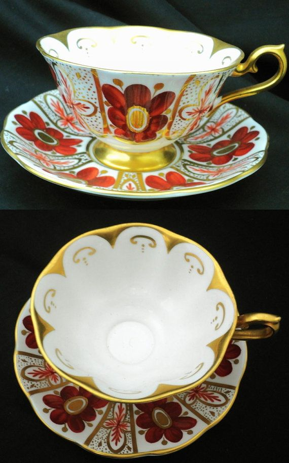 Royal Albert hand painted rust orange poppy art deco avon tea cup and saucer