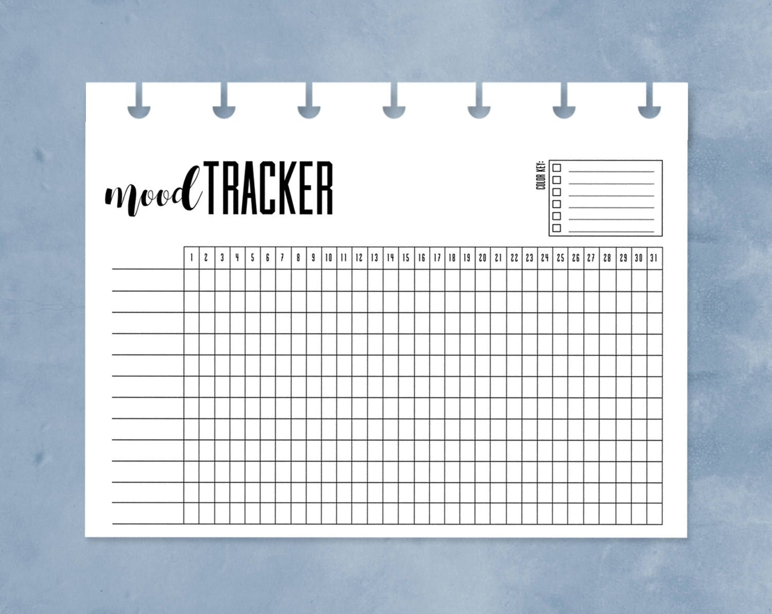 Mood Calendar Bullet Journal : Mood tracker happy planner mini chart printable one