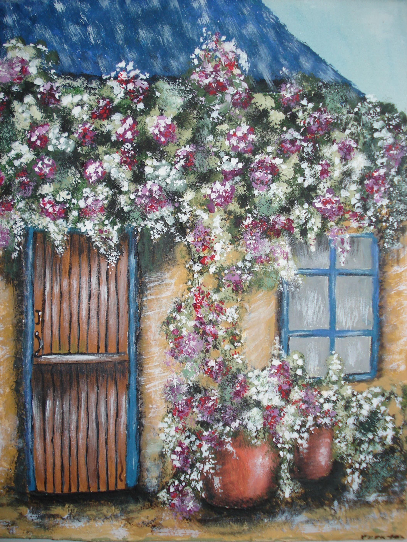 Casa con flores (pintura acrílica sobre lienzo)   La madre del ...