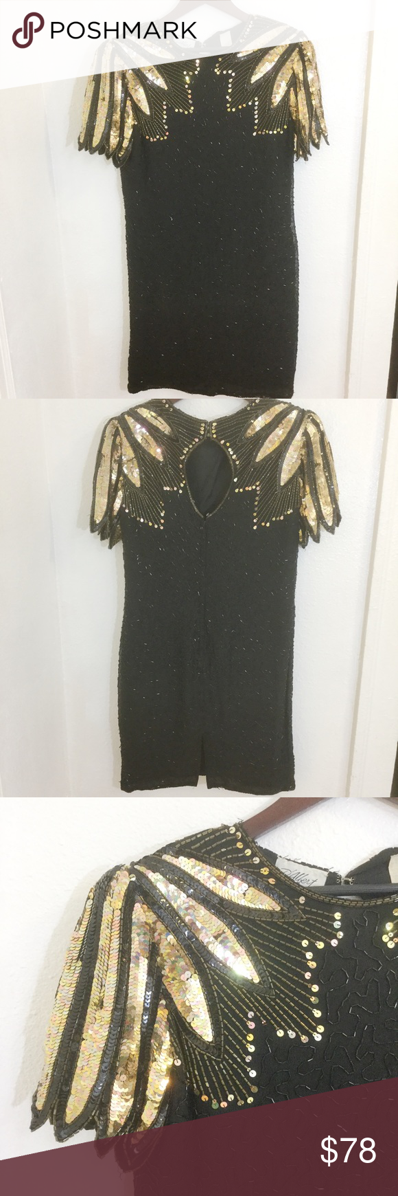 Vintage Black And Gold Beaded Cocktail Dress Beaded Cocktail Dress Prom Dresses Vintage Vintage Dresses [ 1740 x 580 Pixel ]