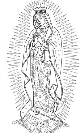 Our Lady Of Guadalupe Coloring Page Supercoloring Com Catholic Coloring Coloring Pages Guadalupe Image