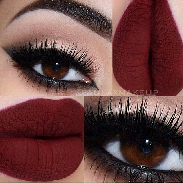 Black Smokey Arabic Cat Eye Winged Eyeliner Matte Red Lips