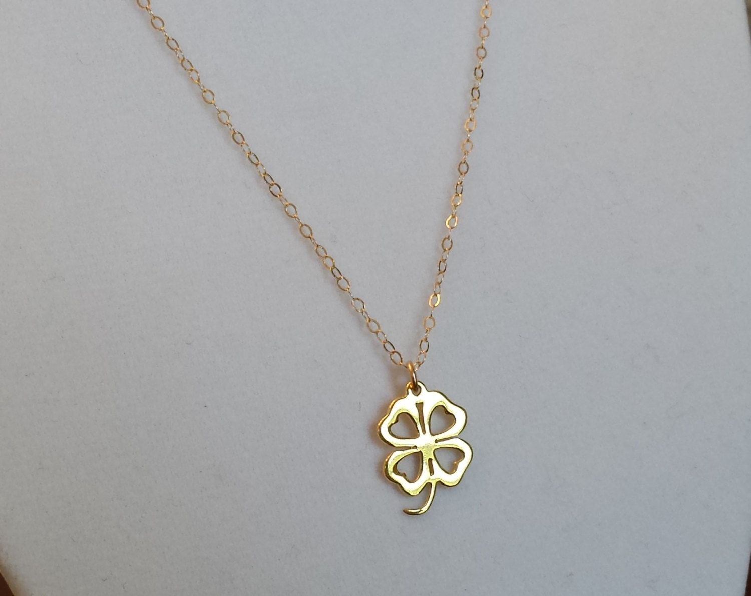 Sale 45 Off Tiny Gold Four Leaf Clover Necklace Good Luck Necklace 14k Gold Filled Chain Use Sh Four Leaf Clover Necklace Clover Necklace Good Luck Necklace
