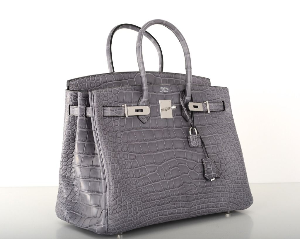 33fe1629823 Hermes birkin bag 35cm gris paris (grey) matte croc alligator ph in ...