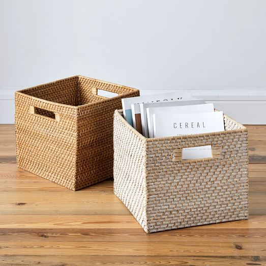 Modern Weave Lidded Storage Baskets
