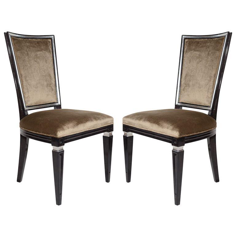 Pair Of Elegant Hollywood Regency High Back Chairs In Velvet ChairsSide ChairsModern Dining Room
