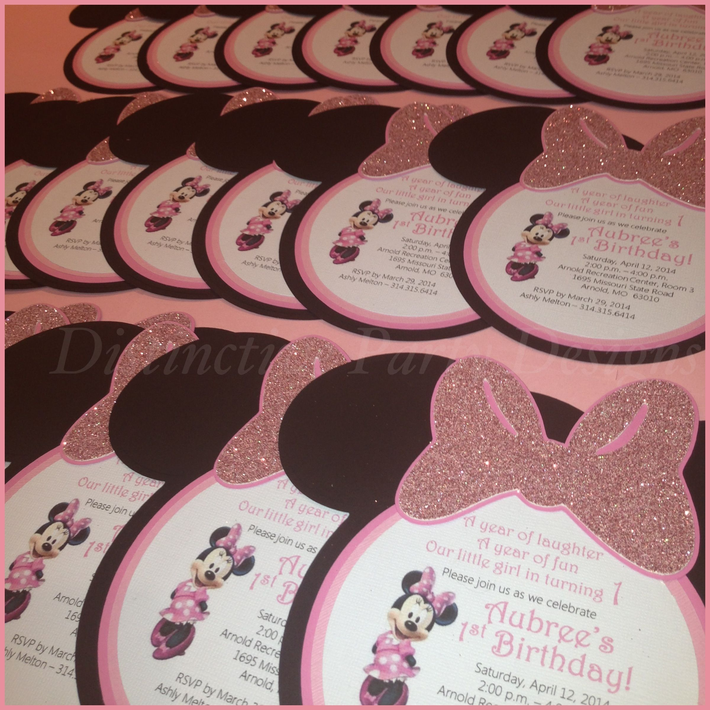Custom made party invitations for Minnie Mouse inspired birthday ...