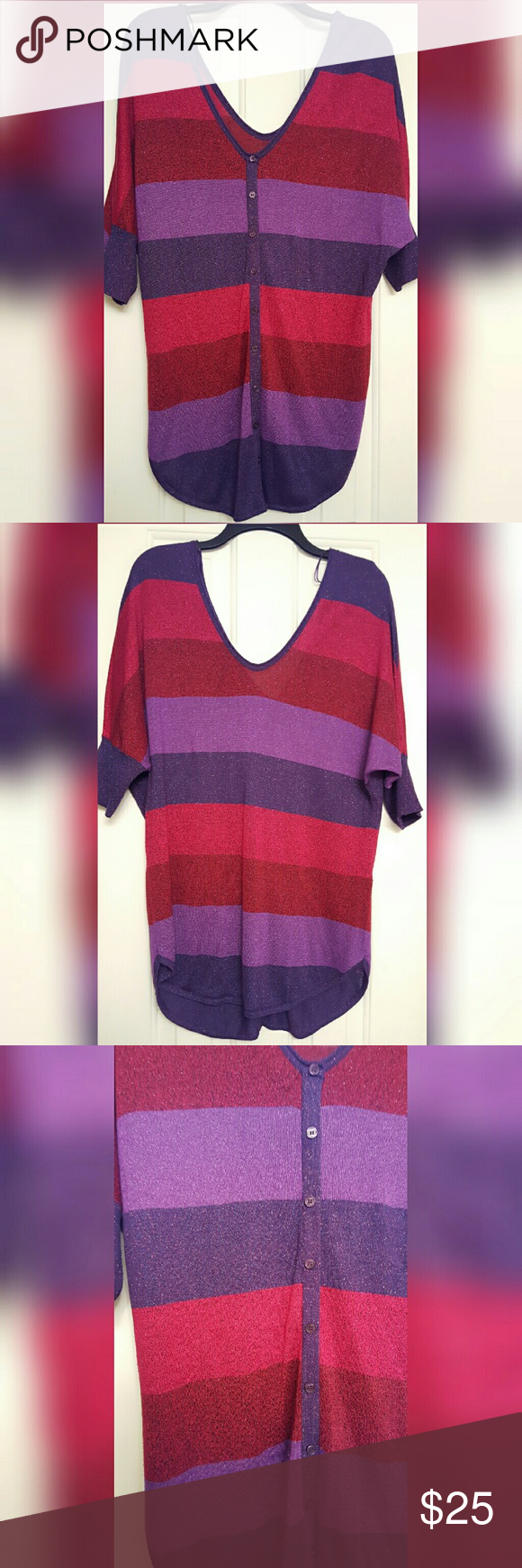 Express striped sweater tunic | Tunics and Purple