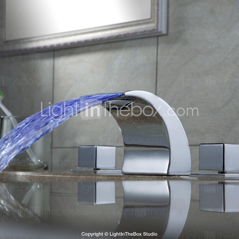 kleur veranderende led waterval wijdverspreide badkamer wastafel