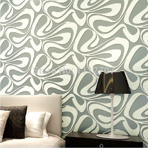 New House decor modern brief wallpaper 3D flocking wall paper roll - tapete modern