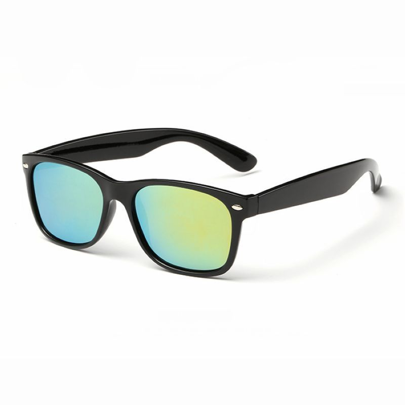 1d6984edd895 Classic Polarised Square Sport Sunglasses Polished Black/Mirror Gold Yellow